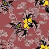 Színes kerti virágok, madarak