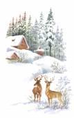 Watercolor winter landscape with deers