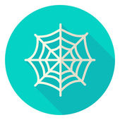 Spider Web Circle Icon Flat Design Vector Illustration with Long Shadow Scary Symbol