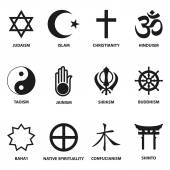 World religious sign and symbols collection isolated on white background vector illustration