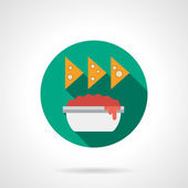 Tomato sauce in bowl and nachos with long shadow Recipes of traditional Mexican cuisine Spicy food restaurant menu Round flat color vector icon Web design element for site mobile and business