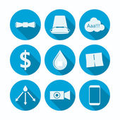 Set of blue circle flat vector icons with silhouette symbols of popular project on white background
