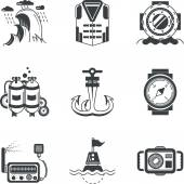 Set of black silhouette vector icons for marine equipment and objects on white background