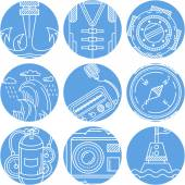 Set of abstract round blue vector icons with white line marine elements and objects on white background