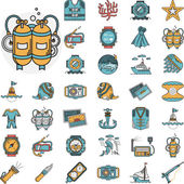 Set of flat color design vector icons for active sea leisure elements and diving objects on white background
