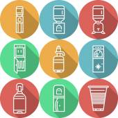 Set of colored round flat vector icons with white line water cooler and purifiers appliances Design elements for business and website