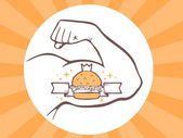 Vector illustration of strong man hand with big burger icon on bright background