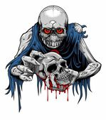 Vector illustration of zombie with torn clothes holding a bloody skull