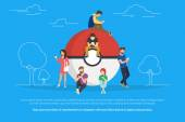 Pokemon concept illustration of young people using smartphones to catch them Young people standing near big pokemon ball they are addicted to the catching game