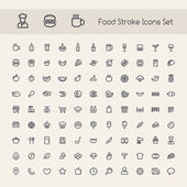 Set of Stroke Food Icons Isolated on White Background Clipping paths included in additional jpg format
