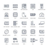 Set vector line icons with open path upgrading computer and hardware overclocking cooling test cpu and gpu with elements for mobile concepts and web apps Collection modern infographic logo