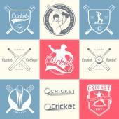 Set von Vektor-Logos und Abzeichen Cricket