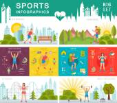 Sport infographic banners and elements with running bodybuilding fitness and hiking Set sign sport people and others objects Fitness info graphic template 8 flat square icons composition banner abstract isolated vector illustration