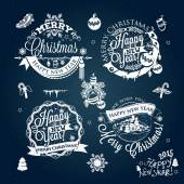 Christmas and New year labels decoration set of calligraphic design with typographic labels symbols of the year and icons elements for you Hand drawn authors work