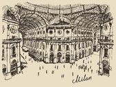 Gallerie Viktora shopping center in Milan Italy hand drawn vector illustration sketch engraved style