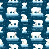 Vector seamless pattern polar bears on isberg and dot-dash in dark blue background