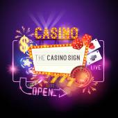 Casino Party Vector - Role the dice - Win big! Casino vector illustration design with poker playing cards slots and roulette Glowing Casino sign Layered illustration