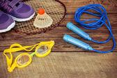 Sportovní vybavení: ptáček je na rakety, švihadlo, plavání brýle a tenisky na dřevěné pozadí. Tónovaný obrázek