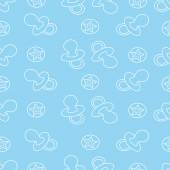 Baby seamless pattern Blue and white colors Children's book illustration The image pacifiers and round balls with starsFor printing on fabric and paper