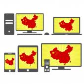 Many device media (tablet pc cellphone laptop smart tv) with the map and flag of China