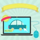 Koupit auto online prostřednictvím notebooku