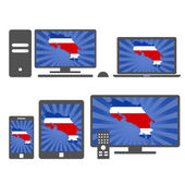 Many device media (tablet pc cellphone laptop smart tv) with the map and flag of Costa Rica