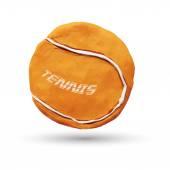 Realistic illustration of orange tennis ball isolated on white background Vector illustration Plasticine modeling