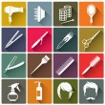 Постер, плакат: Square colorful hairdressing equipment icons