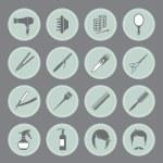 Постер, плакат: Round hairdressing equipment icons