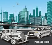 Urban retro car in vector on background of the city