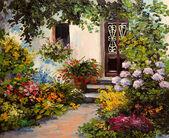 Olaj festmény - ház, terasszal, színes akvarell
