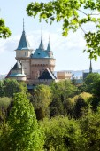 Bojnice castle behind the trees