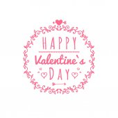 Happy Valentines day card with ornaments hearts frame typography vector