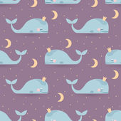 Seamless vector pattern with sleeping whales moon & stars Good night card