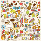 Happy birthday color doodle set Hand drawn vector illustration