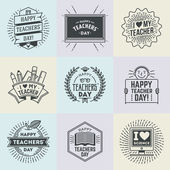 Happy Teachers Day assorted design insignias logotypes set  Thank you signs for teacher appreciation Vector symbols elements Thank you notes for teacher