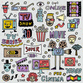 TV Shows Series and Movies Funny Doodle Vector set Hand drawn illustration School notebook