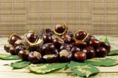 Fresh Chestnuts from an Autumn Harvest and Barbed Crust on an Old Wooden Table with Green Leaves