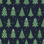 Simple seamless retro Christmas pattern - varied Xmas trees stars and snowflakes Happy New Year background Vector design for winter holidays on dark blue background Child drawing style trees