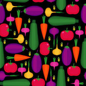 Seamless pattern with tomato eggplant carrot onion zucchini paprika olive on black background Cute vector vegetables background Bright summer food illustration Vegetable mix card