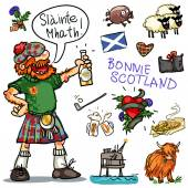 Bonnie Scotland cartoon collection funny Scottish man with whiskey