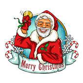 Weihnachts-Etikett mit Santa