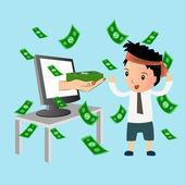 Reddito passivo, business online, design piatto