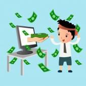 Passive income, online business, flat design
