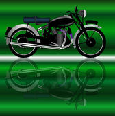 A classic style motor cycle with reflection