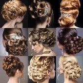 Kolekce svatebních účesů. Krásné holky. Krása vlasy
