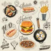Retro vintage styl fast food návrhy