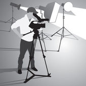 Video camera operator working with his professional equipment isolated on white background Vector format