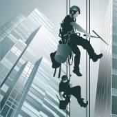 Kletterer saubere Fenster