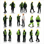 Set of construction workers silhouettes isolated on white Vector illustration